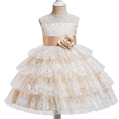 ZCRFYY Vestido de Princesa de Encaje para niños Vestido de niña de Pastel hinchado Vestido de niña Vestido de niña de Flores Vestido de Novia,Beige,150cm