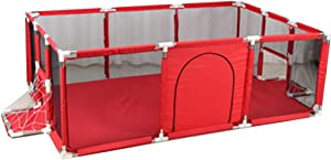 Activity Centres Game Fence Boy Indoor Toddler Fence Home Girl Crawling Mat Child Safety Bar Playground  Color Red-C  Size 190 129  66CM