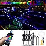 QAUBEN Iluminación Ambiental para automóvil Cable de Fibra óptica 64 Colores Música Sonido Activo con Control de APLICACIÓN Kit de iluminación de atmósfera Decorativa para automóvil DC 12V 1W 8m