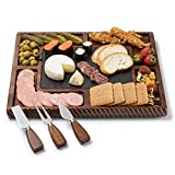 Shanik Upgraded Acacia Cheese Board Set, Square Shaped Charcuterie Set, Cheese Platter with Double Sided Slate, Handcrafted Design and Stainless Steel Cutlery Set - A Perfect Gift for any Occasion