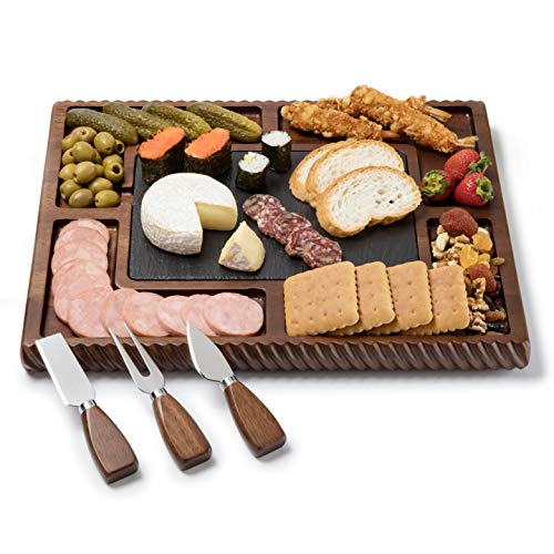Shanik Upgraded Acacia Cheese Board Set, Square Shaped Charcuterie Set, Cheese Platter with Double...