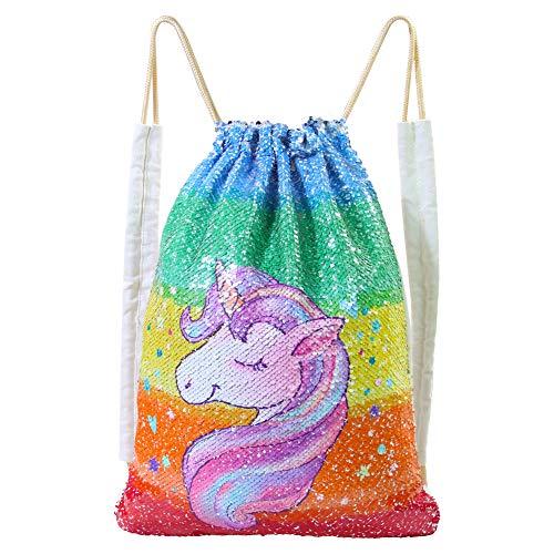 Basumee Unicorn Mermaid Sequin Bag Reversible Sequins Drawstring Backpacks, Rainbow