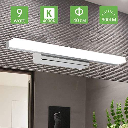Kimjo LED Spiegelleuchte 9W 40CM, Bad Spiegellampe IP44 für Badzimmer Neutralweiß 4000K 900LM, 230V Badleuchte Schminklicht Badspiegel Lampe für Badzimmer und Wandbeleuchtung Spritzwassergeschützt