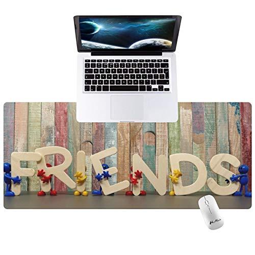 "Hunthawk Large Desk Mat, Art Friends Mouse Pad, Desktop Home Office School Cute Decor Big Extended Pretty Desk Pad for Gaming Laptop Computer Accessories 35.4""x15.7""x0.1"""