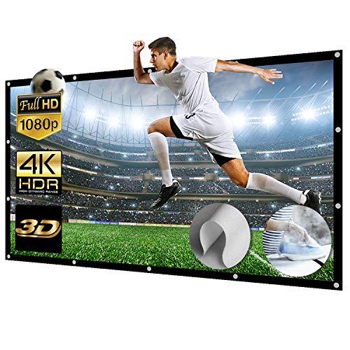 Schermo di proiezione in tela 16:9 Full HD 3D 4K gigante, pieghevole, schermo da tavolo lavabile, per videoproiettori per riunioni / casa / all'aperto (447 x 257 cm)