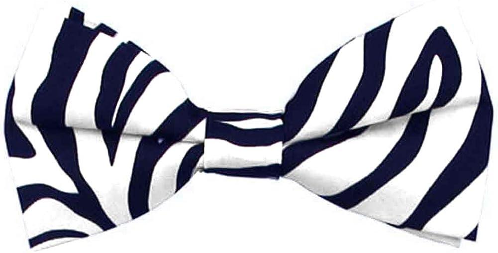 Jacob Alexander Boys' Zebra Animal Print Black and White Pre-Tied Clip-On Bow Tie