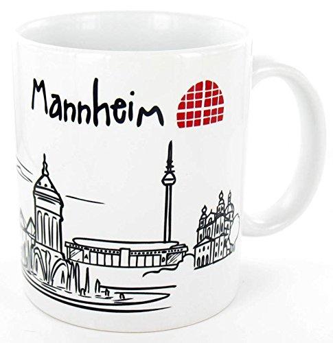 die stadtmeister Keramiktasse Skyline Mannheim - als Geschenk für echte Monnemer & Mannheim-Fans oder als Mannheim Souvenir