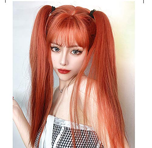 Peluca larga roja para mujer Pelucas rectas sintéticas de pelo natural, flequillo limpio, uso diario