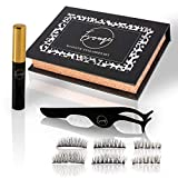 Magnetic eyelashes and Magnetic Eyeliner Kit with Tweezers - Reusable eyelashes set - False lashes with no glue needed - Cruelty Free