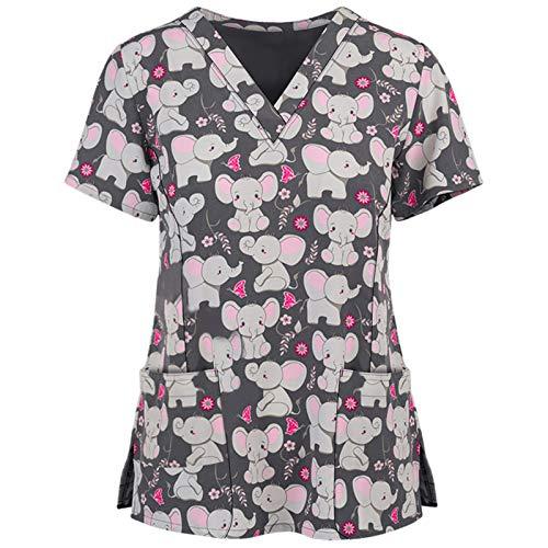 Sonojie Kasack Damen T-Shirts Bunt Pflege große größen mit Herz Motiv Weihnachten T-Shirt Schlupfkasack mit Taschen Kurzarm V-Ausschnitt Schlupfhemd Berufskleidung Krankenpfleger Uniformen Nurse