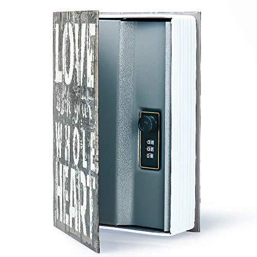 Ablagebuch Safe Aufbewahrungsbox Wörterbuch geheime Safe Dose mit Sicherheit Zahlenschloss/Schlüssel Umleitungsbuch versteckter Safe (Passwortsperre, Love)