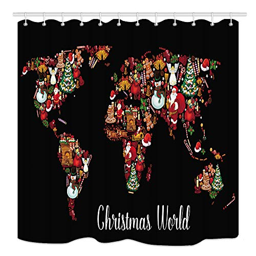 KOTOM Christmas World Map Shower Curtain, New Year Holiday Symbol with Xmas Treegift and Bell Santa Claus Snowman, Mildew Resistant Fabric Bathroom Decor, Bath Curtains Accessories, with Hooks, 69X84