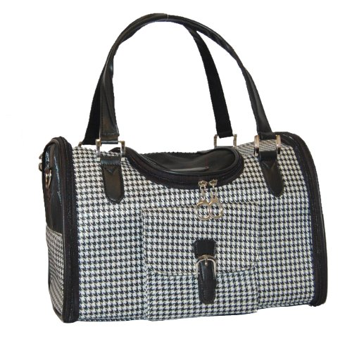 Anima Houndstooth Print Travel Carrier, 13-Inch by 7-Inch by 9-Inch, Small