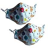 CHRISLZ 2 Stck PM2.5 Kinder Reine Baumwollmaske Wiederverwendbare Anti-Fog Anti Staub mit Filter Atemschutzmaske Kinder Mund Maske(Bear)
