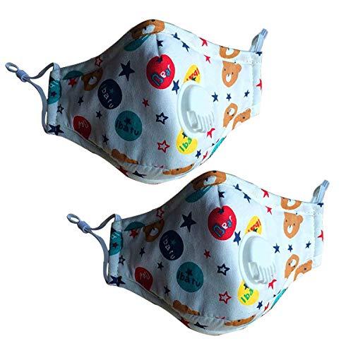 CHRISLZ 2 St¨¹ck PM2.5 Kinder Reine Baumwollmaske Wiederverwendbare Anti-Fog Anti Staub mit Filter Atemschutzmaske Kinder Mund Maske(Bear)