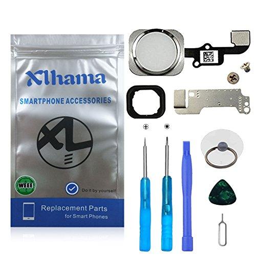 Xlhama Pulsante Home per iPhone 6/6 Plus Bianco Cavo Flessibile Supporto Metallico Pre-installato Kit Smontaggio trasformazione Completo di Ricambio