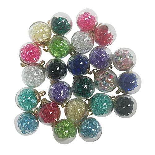 QWEQWE 24 piezas de bolas de cristal colgantes colgantes de perlas de cristal brillantes colgantes gota colgante accesorios para niñas mujeres DIY collar fabricación de joyas, 16 mm 12 colores perlas