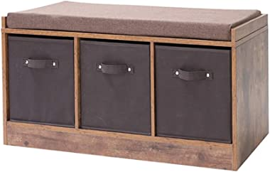IWELL Rustic Storage Bench with 3 Removable Drawers, Entryway Bench Storage Bench with Removable Cushion, Perfect for Under Window, Hallway, mudroom, Living Room HXD001F-