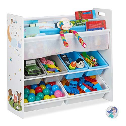 Relaxdays Kinderregal, 6 Boxen, 4 Stofffächer, Lagerfeuer Kindermotiv, Spielzeugregal HxBxT: 78 x 86 x 26,5 cm, bunt, 1 Stück