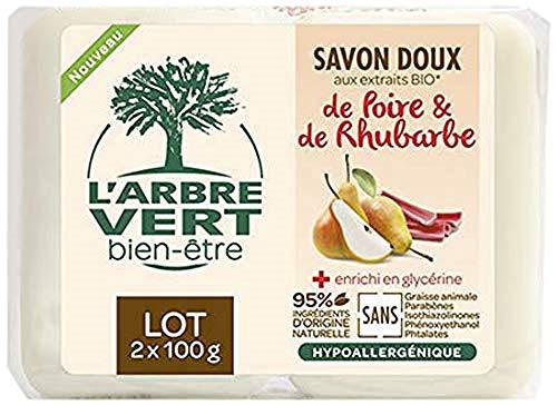 L'arbre vert Savon Solide Doux Poire-Rhubarbe 2 X 100 g