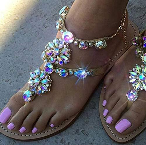 Sandali Piatti con Cinturino da Donna, Bohemia Vintage Gioiello Perline Toe Ring Sandali Gladiatore Scarpe da Spiaggia Romane,42