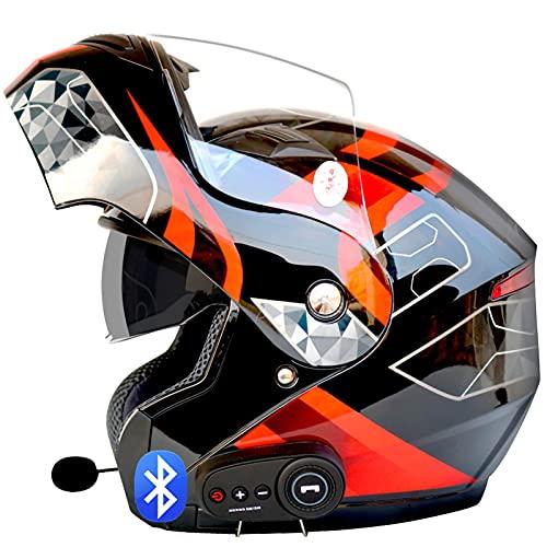 Bluetooth Casco Abatible Delantero Ligero, para Motocicleta,Doble Visera, Cascos Integrales,Aprobado por ECE Respuesta Automática Manos Libres C,L=59~60cm