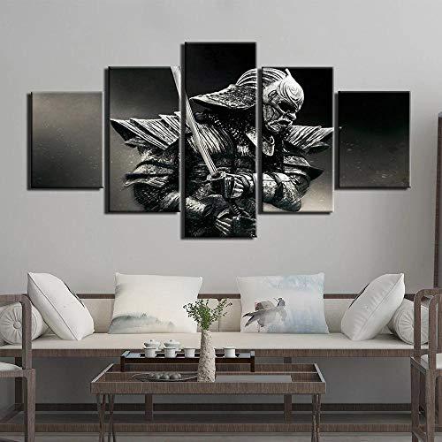 YJXL Guerrero Samurái-Cuadro En Lienzo,Canvas De 5 Pieza,Póster De Arte Moderno Oficina Dormitorio Decoración del Hogar Arte De Pared 150x80cm Enmarcad