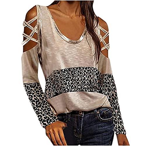 Damen Langarmshirt V-Ausschnitt Rundhals T-Shirts Leopardenmuster Lässiges Schulterfreies Stitching Shirt Tops(Schwarz,L)