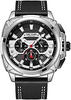Megir Casual watch For Men analog Leather ML2128G-BK-1 Black Silver