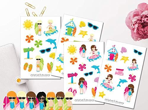 Kinder am Strand Sticker Set | verschiedene Haarfarben | Junge und Mädchen Sticker | Sticker Surfen | Sommer Sticker | Sticker für Kinder