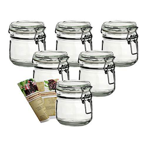 gouveo 6er Set Bügelgläser 350 ml incl. 28-seitige Flaschendiscount-Rezeptbroschüre Marmeladengläser mit Bügelverschluss