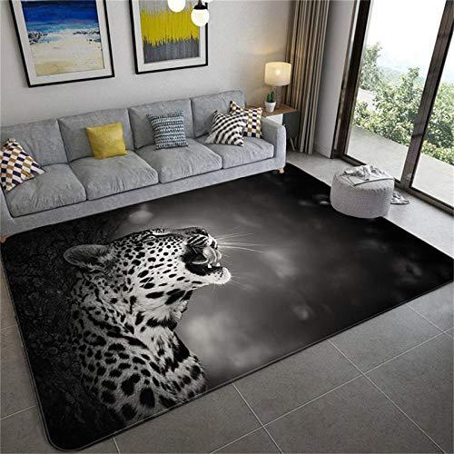LHGBGBLN Alfombra de Leopardo Gris 3D Sala de Estar Dormitorio Alfombra de Animales Dormitorio Baño Cocina Alfombra de Piso Alfombra de Puerta