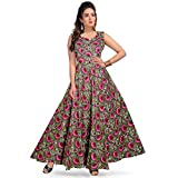 Silver Organisation Women's Long Dress Jaipuri Fashion Print Cotton (MultiCour, Up to XXL)