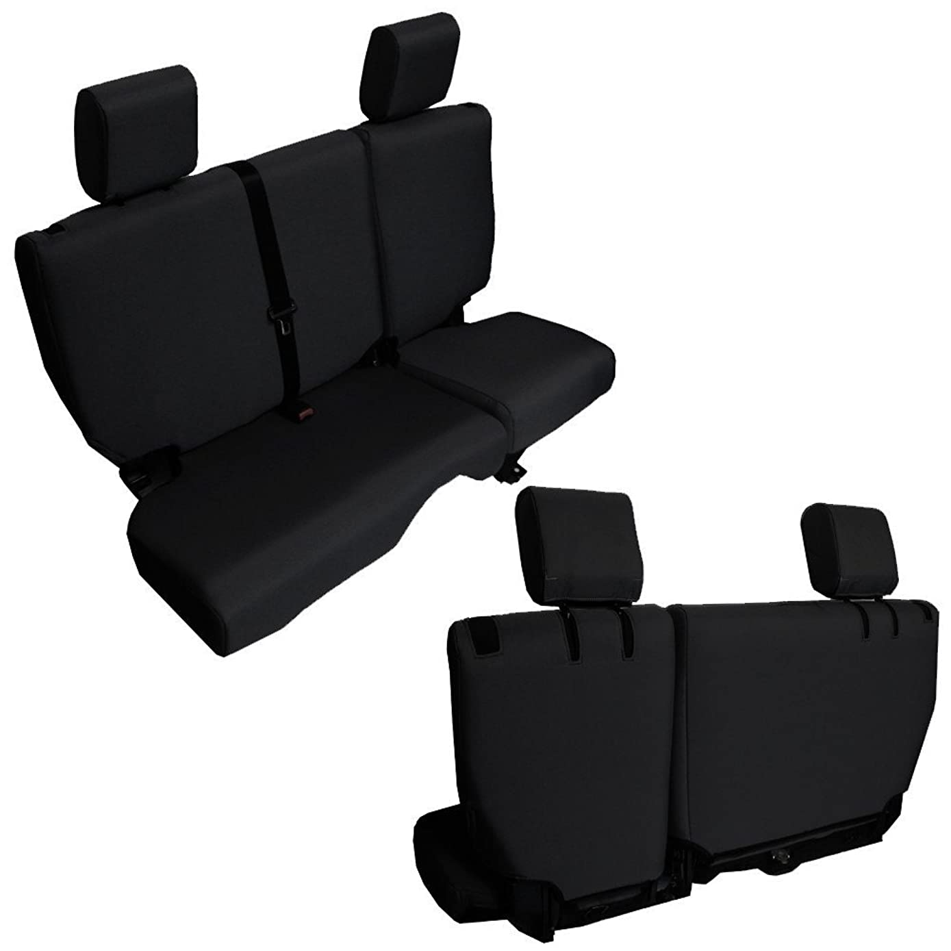 Bartact JKBC2013R4B - 2013-18 Baseline Performance Rear 4 Door Bench Seat Covers Jeep Wrangler JKU (Black)