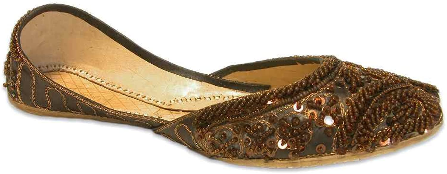 Chocolate Brown Khussa shoes Beaded Tribal Belly Dance Indian Flats