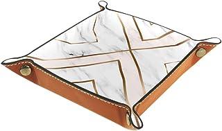 BestIdeas Panier de rangement carré 20,5 × 20,5 cm, avec formes géométriques en marbre doré, boîte de rangement sur table ...