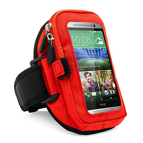 VanGoddy Zippered Sport Case Cover Gym Running with Removable Strap Armband with Card with Key Slot for HTC One Max, M8, M7, BlackBerry Z10, Red