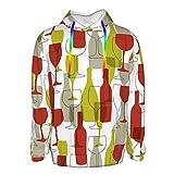 Sudadera con capucha para botella de vino y copa para niños y hombres, divertida ropa exterior