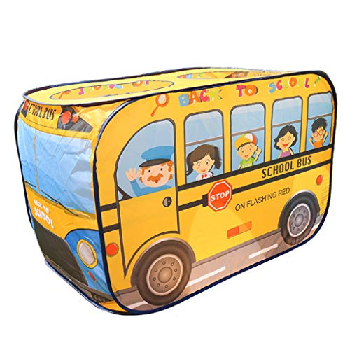 Perfeclan Children Play Tent, Cartoon Car Style Tent for Indoor and Outdoor Games - Easy Installation - School Bus, 114 x 73 x 73 cm