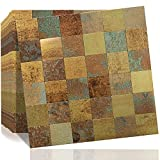 DICOFUN 10 Sheets Peel and Stick Metal Backsplash Tiles, Self-Adhesive Aluminum Mosaic Tile, Rust Classical Retro Copper Backsplash for Kitchen & Bathroom