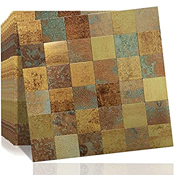 DICOFUN 10 Sheets Peel and Stick Metal Backsplash Tiles Self-Adhesive Aluminum Mosaic Tile Rust Classical Retro Copper Backsplash for Kitchen & Bathroom