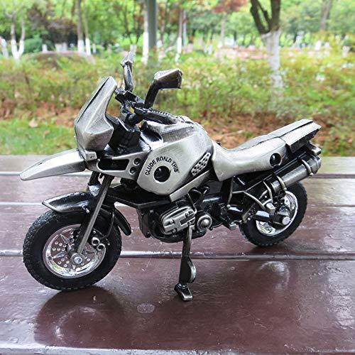 Hancoc Simulierte Legierung Motorrad Modell Hause Wohnzimmer Studie Büro Dekoration Hand Überzogene Handwerk Besondere Kreative Geschenk Souvenirs (Color : Silver)