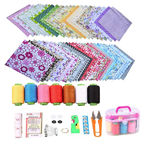 """50 Pcs 4"""" x 4"""" Craft Fabric, Craft Bundle Patchwork, Pre-Cut Quilt Squares, Quilting Fabric Bundles with Sewing Kit for DIY Artcraft Pattern"""