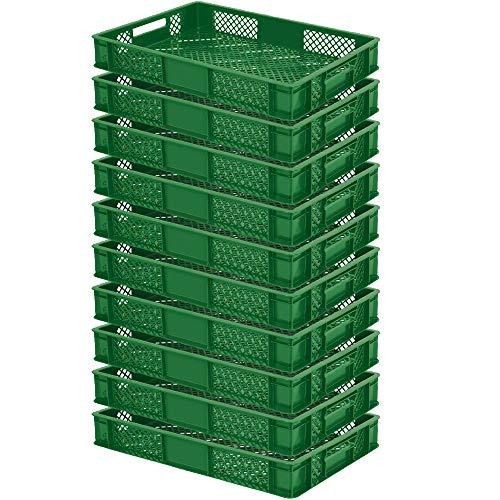 10x Eurobehälter/Stapelkorb, lebensmittelecht, LxBxH 600 x 400 x 90 mm,15 Liter, grün