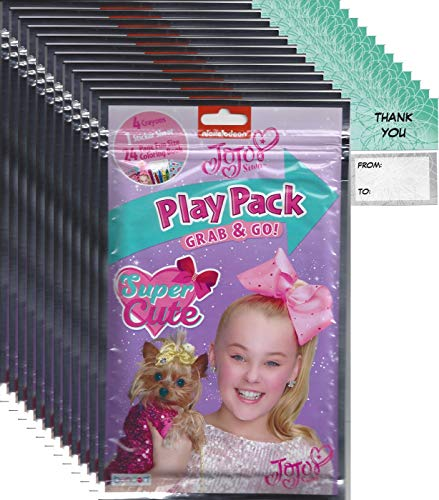 JoJo Siwa Grab and Go Play Packs Bundle (12 Packs) Party Favors and 12 Thank You Cards