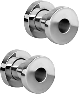 Forbidden Body Jewelry 1.2mm - 16mm Surgical Steel Ear Gauges Screw Fit Tunnels, Tunnel Plug Earrings Sold as a Pair