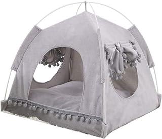 ZYY-Hem gardin katt tält Tipi katthus, kattbädd avtagbar, tvättbar med dubbelsidig matta för hundkatt, grå, M
