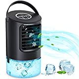 AIMIUVEI Aire Acondicionado Portátil, 4 En 1 mini Enfriador de aire Climatizador Evaporativo Ventilador Humidificador Purificador 3 Velocidades, Temporizador, 7 Colores LED para Hogar Oficina