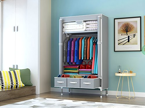 ASSICA Portable Clothes Closet Rolling Door Wardrobe with Hanging Rack Non-Woven Fabric Storage Organizer with Three Drawer Boxes No-Tool Assembly - 35.4 x 17.7 x 67.0 '' (Gray)