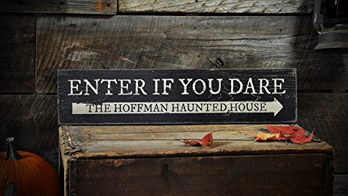 Ced454sy Panneau en bois avec inscription « Enter If You Dare »